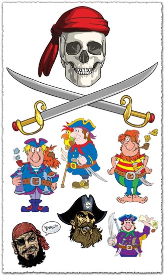 Greedy pirates vector cliparts