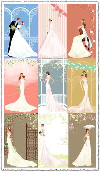Illustration wedding bride card vector