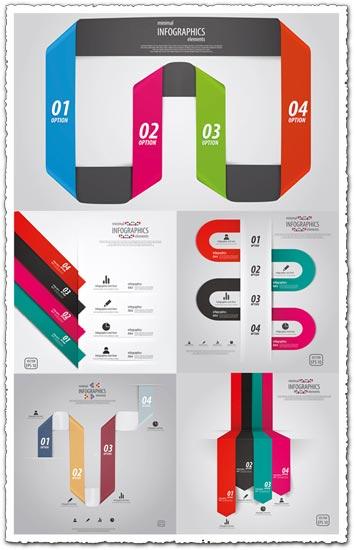 Infographics line charts vectors