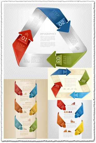 Origami label with icons vector