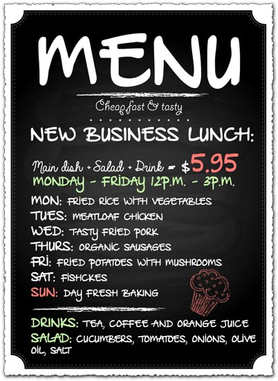 Restaurant menu panel vector