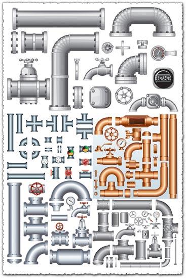 Steel iron pipe vectors