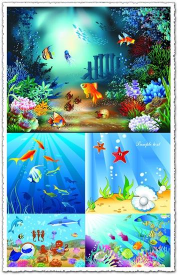 Underwater world of marine life vector