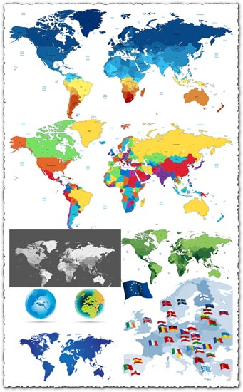 World and european vector maps