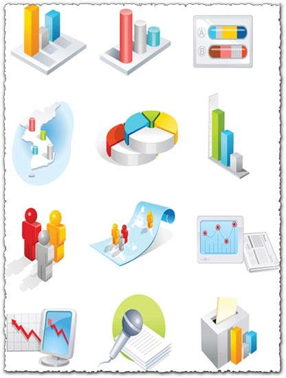 3D technology charts icon vector