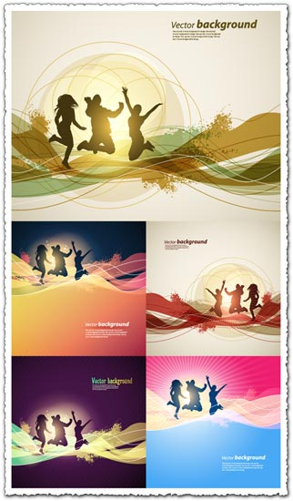 Abstract backgrounds with silhouettes vector