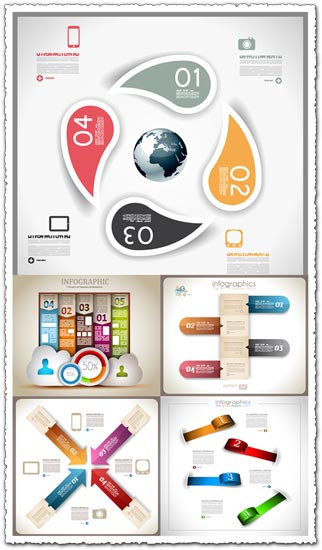 Colored paper tags infographics vector