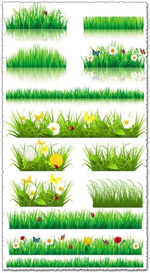 Decorative grass borders vectors