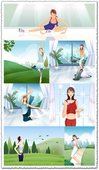 Girls making fitness vectors