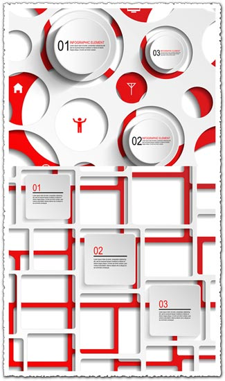 Infographics squares and circles vectors