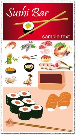 Japanese seafood vectors