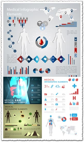 Medical infographics vector elements