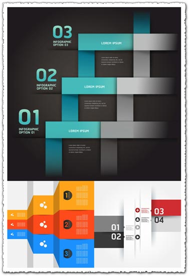 Option labels for text infographics vector