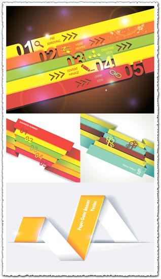Option numbers origami infographics vector