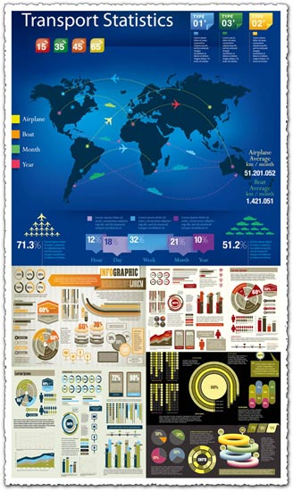 Pies and charts infographics vectors