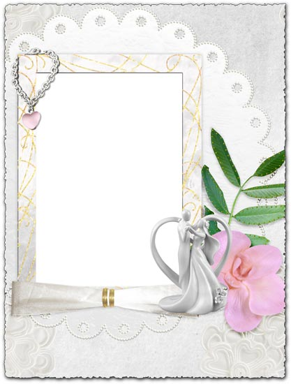 Png wedding frame with pink flower
