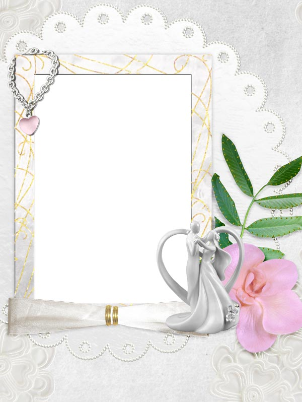 Png wedding frame with pink flower – download