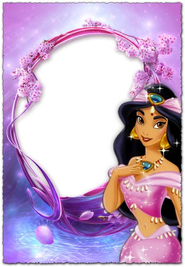 Princess Jasmin purple photo frame for kids