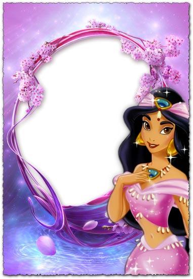 Princess Jasmin purple photo frame for kids