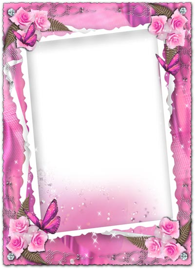 transparent pink wedding frame with roses