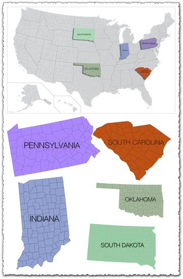 USA states and counties vector map