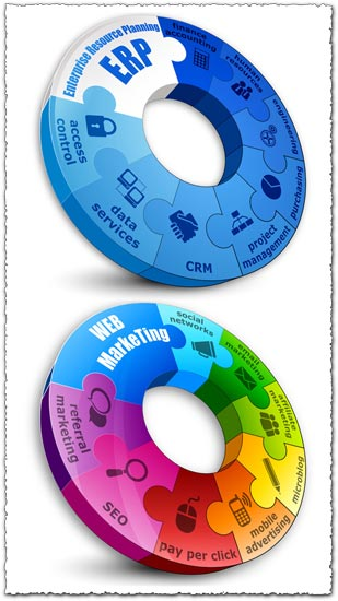 Web marketing infographics charts vector