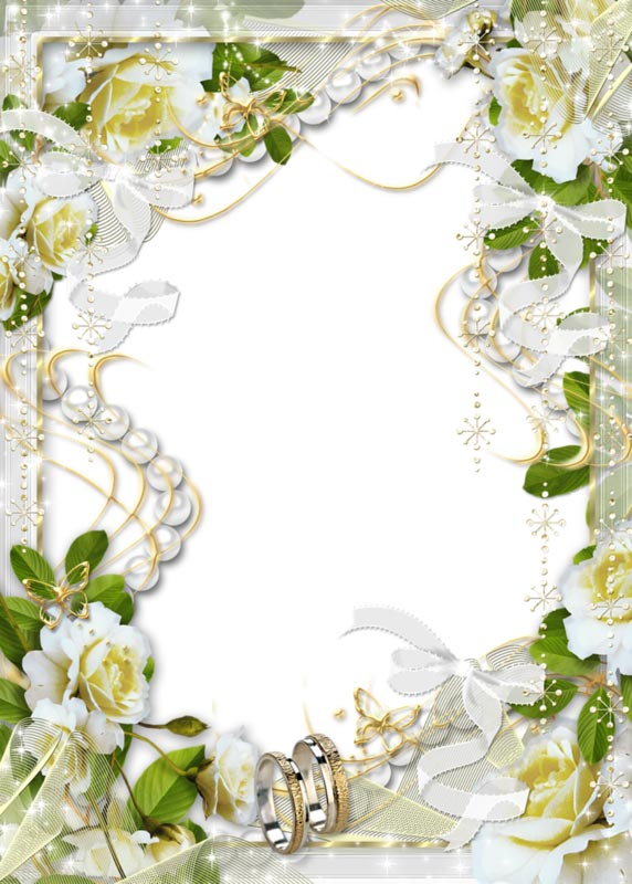 White wedding flowers png photo frame