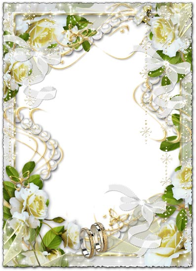 White wedding flowers png photo frames