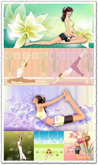 Yoga girls relaxing vectors
