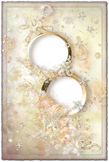 Cream wedding photo frame with rings and roses