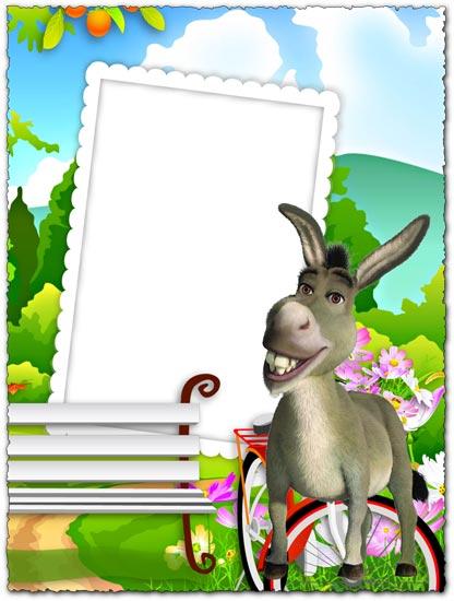Donkey from Shrek png photo frame for kids