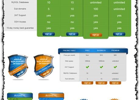 Pricing tables and shields for Photoshop