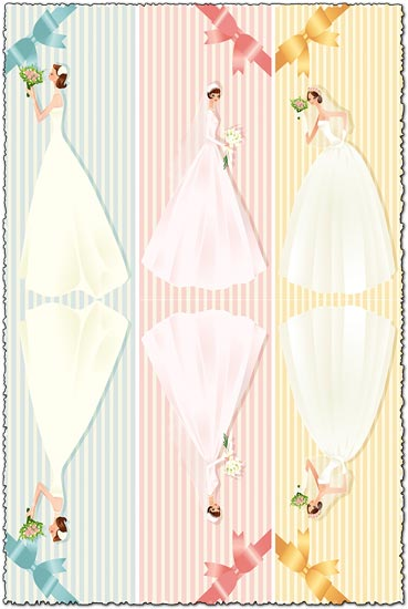 Wedding bride card with colored vector bows