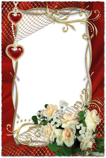 White roses on wedding photo frame