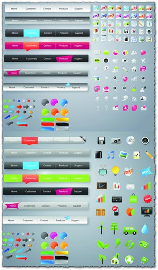 Headers buttons and icons for webdesigners