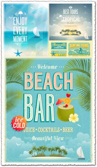 Travel vintage posters vector