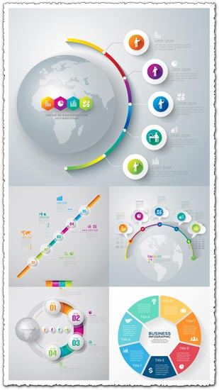 Diagrams infographic stickers vectors