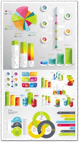 Timeline statistics infographics vector