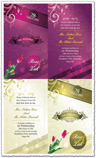 Vectorized wedding invitation cards