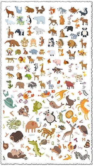 Flattern jungle animals cartoon vectors