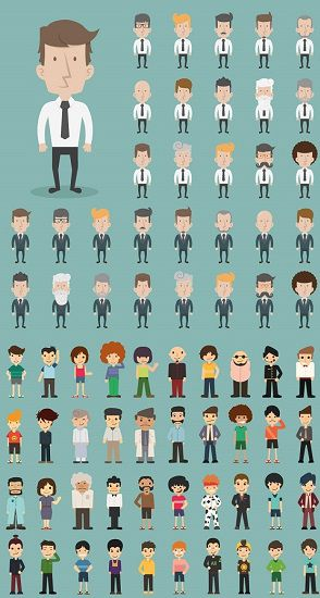 Vectorized business people expressions