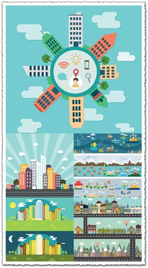 City buildings flat vectors design