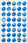 Emoji vectors with blue design