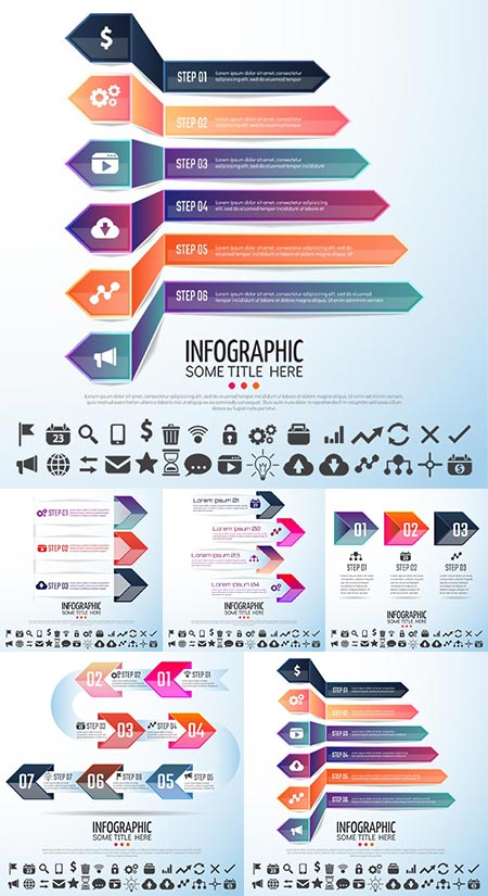 Business bended labels vector infographics
