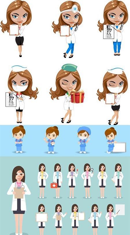 Cartoon woman doctors and nurses vector