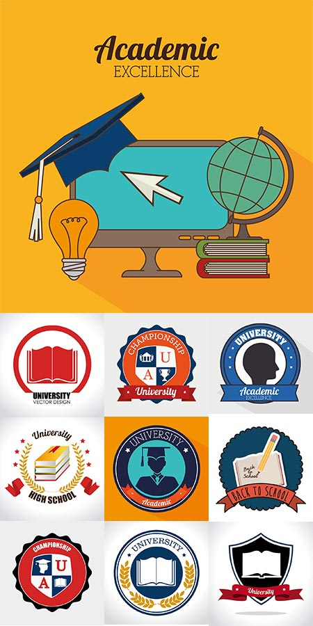 Education school logo vector badges