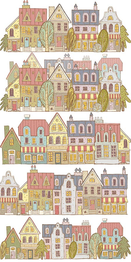 Hand drawn houses and trees vectors