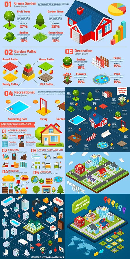 Interior design vector infographic