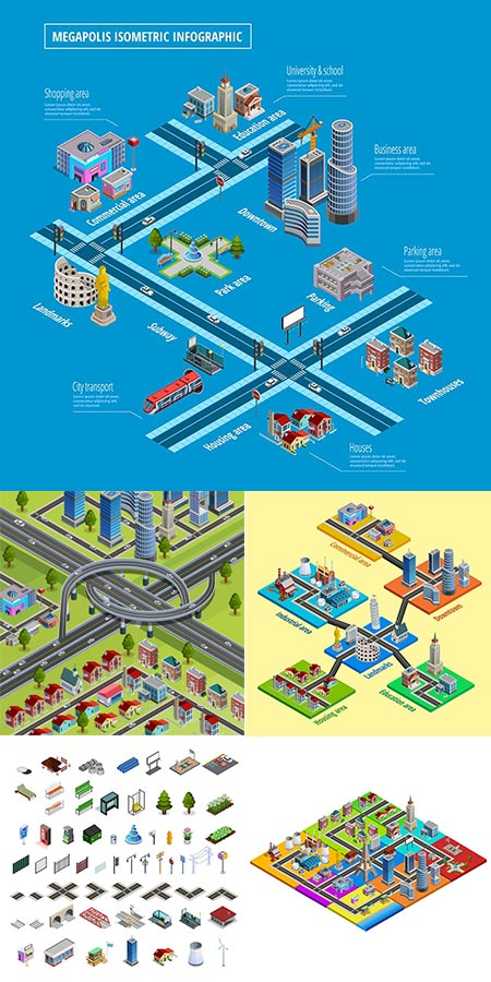 Isometric landmarks and infrastructure city vectors