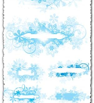 Vector labels with winter frames